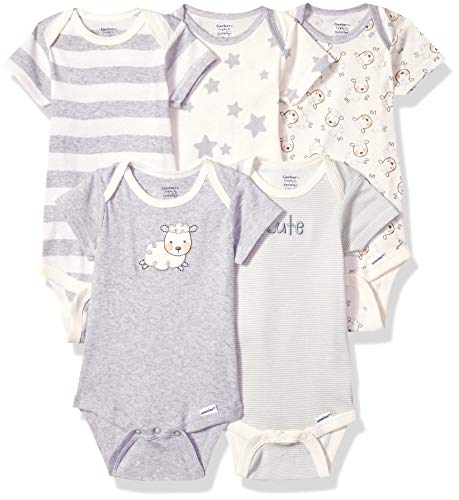 GERBER Baby 5-Pack or 15 Multi Size Organic Short Sleeve Onesies Bodysuits, Sheep 5 Pack, 3-6 Months