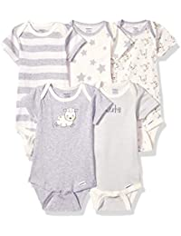 Baby 5-Pack or 15 Multi Size Organic Short Sleeve Onesies Bodysuits, Sheep, 12 Months