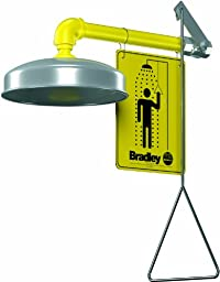 Bradley S19-120A Galvanized Steel 1 Spray Head Horizontal Supply Safety Shower with Stainless Steel Showerhead, Wall Mount, 20 GPM Water Flow, 9\