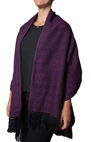 - TINKUY PERU - Peruvian Alpaca Wool - Women´s Purple & Black Argyle Design Pashmina Wrap Ruana Fringes Shawl