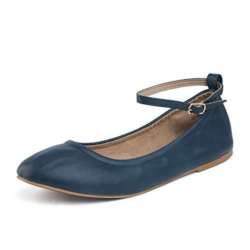 - DREAM PAIRS Women's Sole-Fina-Straps Navy Ankle Straps Ballet Flats Shoes - 5 B(M) US