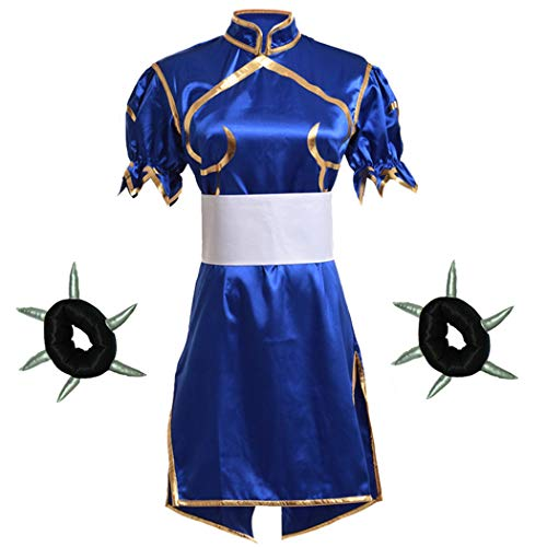 Street Fighter Chun Li Cosplay Costume Headwear Bracelet 4 Pcs Set (Women L) -
