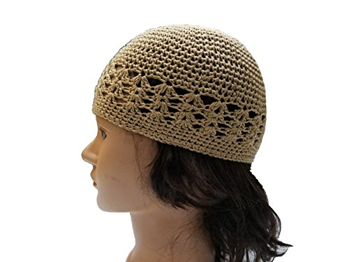 (BUNFIRE Tan Beige Khaki Threaded Skull Cap Chemo Kufi Beanie Hats and Under Hat Helmet Turban Liners)
