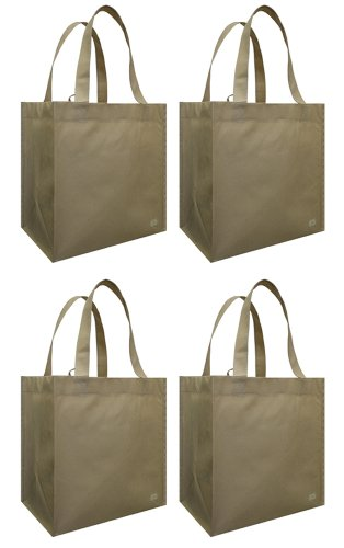 Reusable Grocery Tote w/ 2 Corner Bottle Holders, Oatmeal 4 Pack