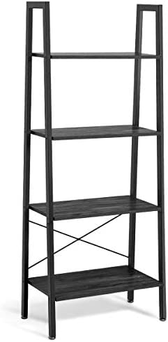 Giantex Ladder Shelf 4-Tier Industrial Bookshelf Storage Rack Shelves for Home and Office Use, Wood Display Rack with Metal Frame Gray