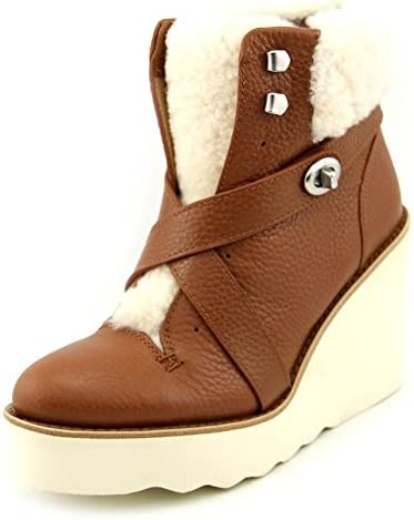 844954d2b014e Coach Kenna Women s Pebble Leather Shearling Sheepskin Wedge Booties Snow  Boots Shoes