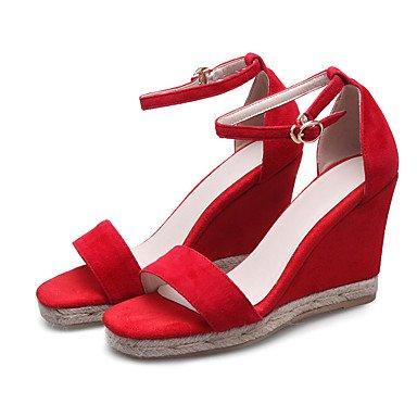 LvYuan Tacón Cuña-Zapatos del club-Sandalias-Oficina y Trabajo Fiesta y Noche Vestido-Cachemira-Negro Rojo Red