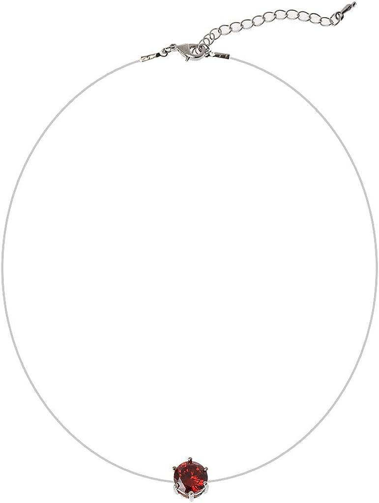 Kimruida Pendentif Invisible Zircone Femmes Collier Ligne De P/êche Transparente