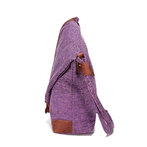 Pour Sac à Sac Main Bandoulière Femmes Sac En Les Toile à Casual Véritable En à Bandoulière Toile Retro Violet Brenice Dames Cuir Vintage aEHq5Ww4