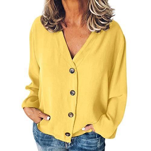 - YEZIJIN Women Casual Solid Long Sleeve V-Neck Buttons Opening Loose Shirt Tops Blouse Sexy Tops for Women Fashion 2019 Yellow