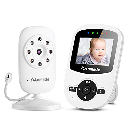 Video Baby Monitor with Camera and Audio,Anmade Baby Monitor with Night Vision,Two Way Talk Back,ECO Mode,2.4