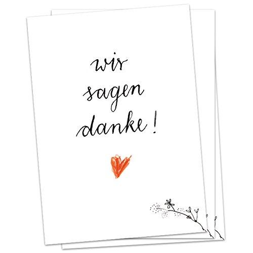 5 x Danksagungskarte -Wir sagen danke - mit Herz, Dankeskarte für deine Hochzeit, Geburtstag, Jubiläum etc.