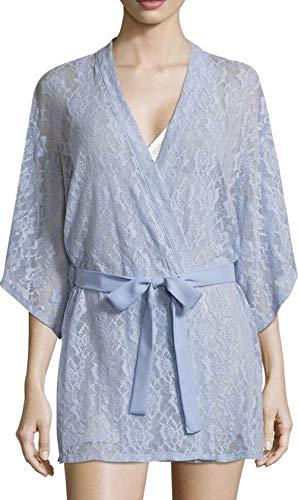 (Josie Natori Womens Butterfly Dream Lace Wrap Robe, Blue, Small )
