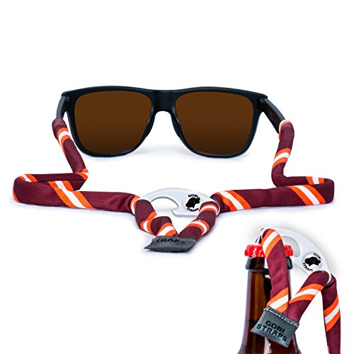 Sunglass Straps by Gobi Straps – Built-In Bottle Opener – Sunglass Retainers – Sunglass Lanyard -- Sunglass Cord – Quick Dry (Maroon & - Sunglass Straps For Wayfarers