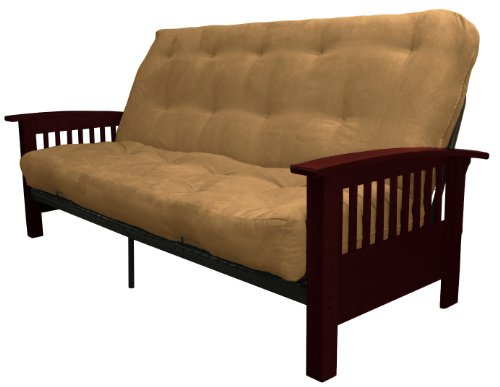 yle True 8-inch Loft Cotton/Foam Futon Sofa Sleeper Bed, Queen-size, Mahogany Arm Finish, Microfiber Suede Mocha Brown Upholstery (Mahogany Futon Frame)