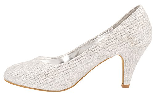 Elara Damen Pumps | Bequeme High Heels Glitzer | Hochzeit Stiletto Silber