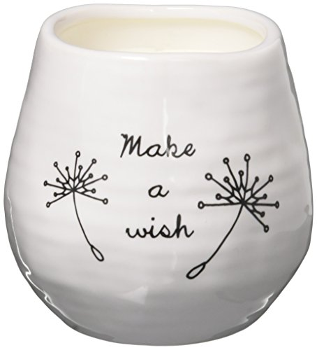 Pavilion Gift Company Plain Dandelion Make a Wish White Ceramic Soy Serenity Scented -