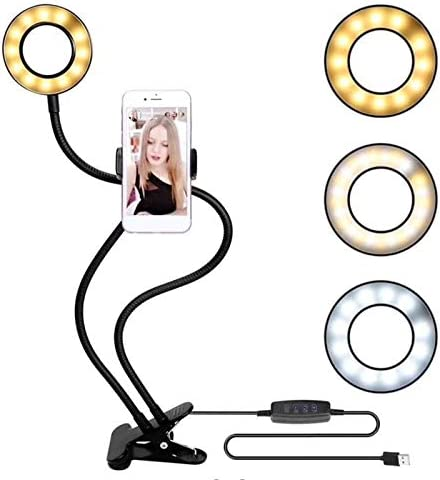 BianchiPatricia USB Charging Power LED Selfie Ring Filling Light with Mobile Phone Clip Holder