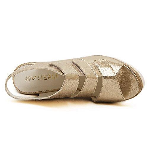 AllhqFashion Womens Soft Material Peep Toe High-Heels Hook-and-loop Solid Sandals Gold qu23Zsnzj
