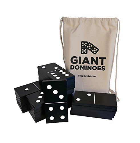 Get Out! Giant Wooden Dominoes 28-Piece Set & Bag - Jumbo Black Color Wood & White Numbers, Kids Adults Outdoor - Dominoes Game Set Wooden