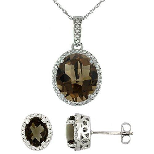 Or blanc 9Ct naturel Pendentif Ovale Boucles d'oreilles topaze fumé et Accents de diamant