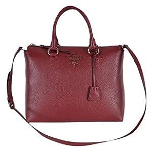 Prada Women's Rubino Red Vitello Phenix Leather Crossbody Handbag 1BA063