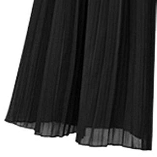 Tinta Larghe Di In Da Elastico Pieghe Unita Pantaloni Nero Ragazza Moda Chic Donna Larghi Elasticizzati Vita qYxwOgI
