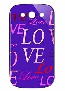 Case Fun Samsung Galaxy S3 (I9300) Case - Vogue Version - 3D Full Wrap - Purple Lots of Love