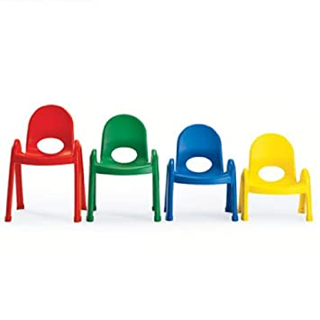 ONE HEAVY DUTY KIDS PLASTIC CHAIR  10u0026quot; Height (Red, Yellow, Green