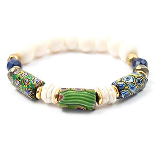 (Antique Millefiori Trade Bead Bracelet with Lapis Lazuli - 7 Inches Long Handmade African Trade Bead Bracelet by Miller Mae Designs)
