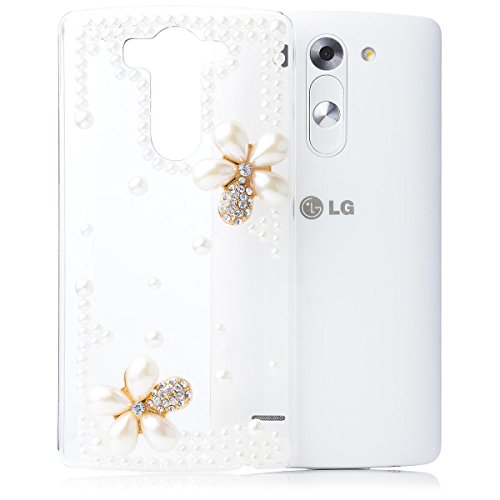 iCues | Compatible with LG G3 Mini | Pearl Flower Case Clear | [Screen Protector Included] Crystal Diamond Clear Cover Rhinestone Shell Bling Glitter Women Girl Floral (Lg G3 Phone Case With Rhinestones)