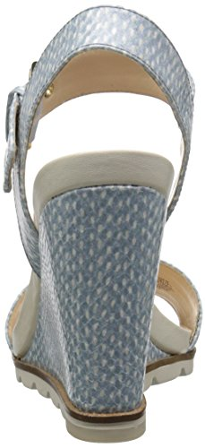 Nine West Gronigen sintético cuña de la sandalia Off White/Light Blue