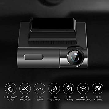 APEMAN 4K Dash Cam with OLED Touch Screen, Built-in GPS, Wi-Fi, Front and Rear Dual Dash Camera for Cars with 170 Wide Angle, Sony Sensor, Parking Mode, Motion Detection, G-Sensor