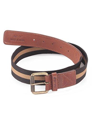 Accessories Designer Belts - Style n Craft 390343-40 Belt in Top Grain Leather/Webbing Combination, Brandy