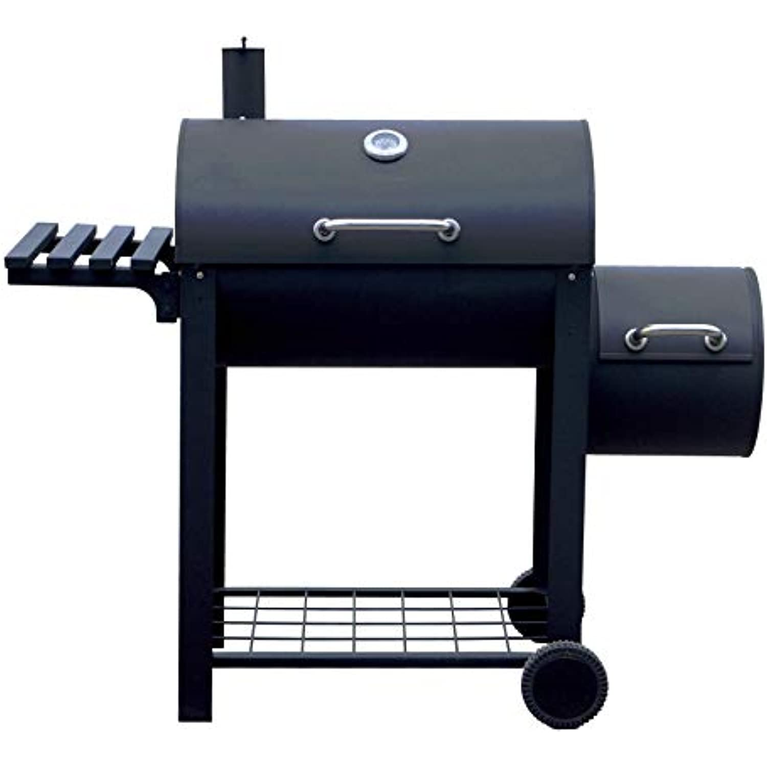ALEKO Portable Charcoal BBQ Offset Smoker Grill with Side Fire Box and Shelf - Black