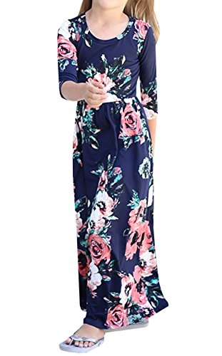 rls Hit Color Long Dress Children Casual Cotton Beachwear Maxi Dress Fit (1-2 Years, Navy 02) (Cute Color Printed)