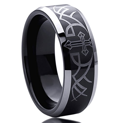 Mens Wedding Bands Cross - 8MM Titanium Mens Womens Rings Thorn With Cross Comfort Fit Beveled Edges Black Wedding Bands SZ: 12