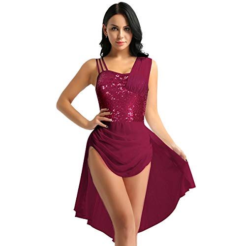 Alvivi Ladies Girls Lyrical Dance Costume Sweetheart Shiny Sequins Ballet Dance Dress Bodysuit Wine Red Type 2 Medium ()
