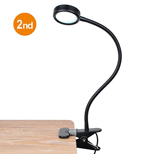New Version LEPOWER Clip On Light Reading Lights 3 Color Temperature Settings 2 Levels of Brightness (Black)