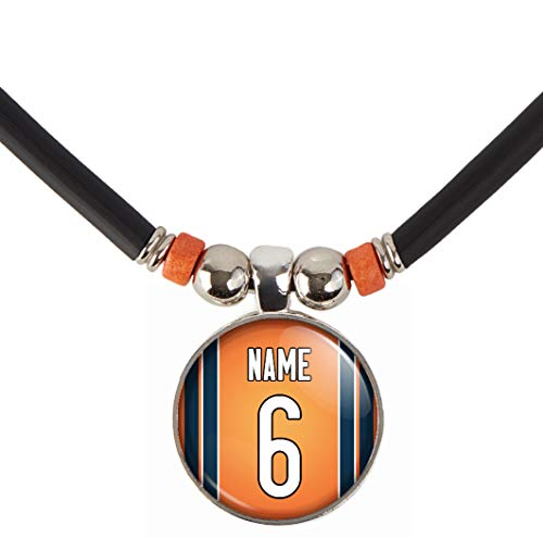 (SpotlightJewels Chicago Football Jersey Pin Back Button Necklace Personalized with Your Name and Number)