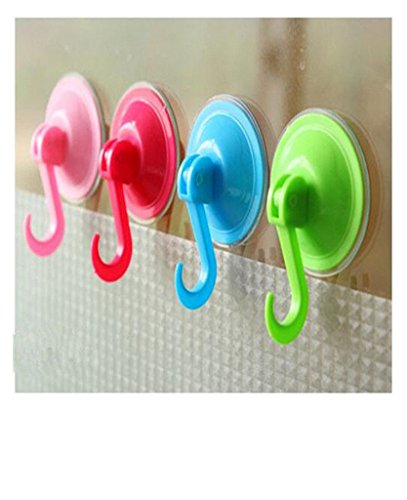 Distinct 4 PCS Vacuum Suction Lock Hooks Cup Wall Hook Door Hanger for Bathroom, Shower, Towel