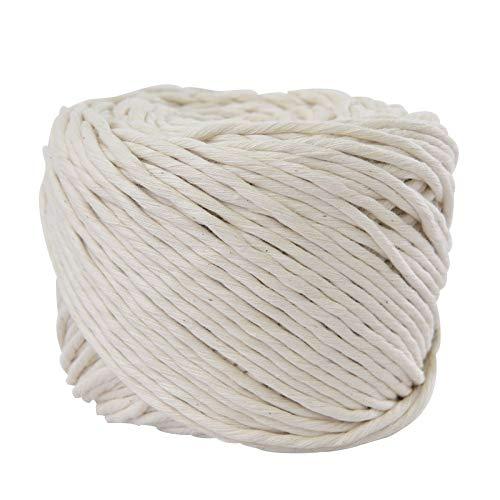 SUNTQ Handmade Decorations Softer Natural Cotton Bohemia Macrame Cord DIY Wall Hanging Plant Hanger Craft Making Knitting Cord Rope Natural Color (Natural Color, 4mm) ()