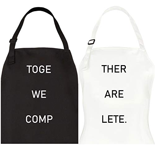 Let the Fun Begin Together Complete Aprons Set, His Hers Couple Gifts for Engagement Wedding, Anniversary or Bridal Shower Gift