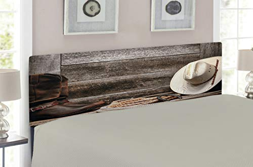 Lunarable Western Headboard for Queen Size Bed, Authentic American Rodeo Items Lasso Hat Boots Horseshoe Rustic Wooden House, Upholstered Decorative Metal Headboard with Memory Foam, Brown Cream ()