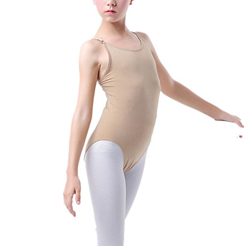 Women and Girls Camisole Tank Leotard for Dance ,Gymnastics and Ballet (CHILD(5-10Y), Nude) Classic Nylon Halters