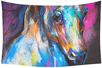 Tapestry Original Pastel Painting of A Horse Tapestries Wall Hanging Flower Psychedelic Tapestry Wall Hanging Indian Dorm Decor for Living Room Bedroom 60 X 40 Inch