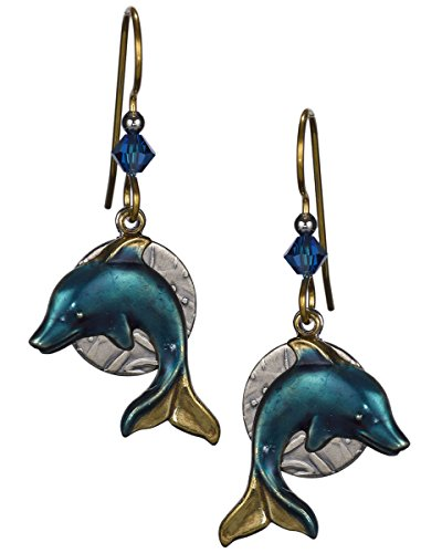 Blue & Bronze Dolphin Layered on Hammered Textured Disc Earrings - Silver Forest