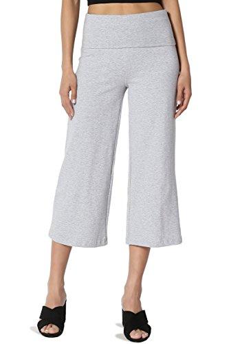 TheMogan Women's Thick Cotton Foldover Waist Capri Crop Yoga Pants Heather Grey M ()