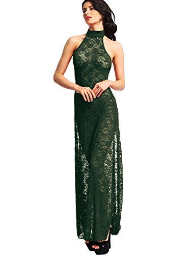 Amoretu Women Floral Sexy Cheongsam Split Lace Long Lingerie Night Gown Green