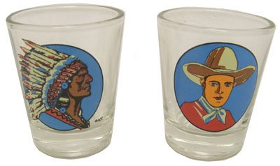 Hipster's Choice Western Shot Glasses, Cowboy and Indian -